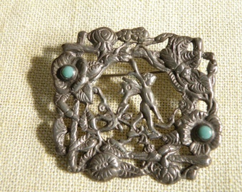 Art Nouveau SterlingTurquoise Woodland Scene with Cherub Pin