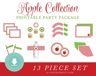 INSTANT DOWNLOAD Apple Printable Party Package (Apple Birthday, Apple Party Instant Download, Apple Party Decorations)