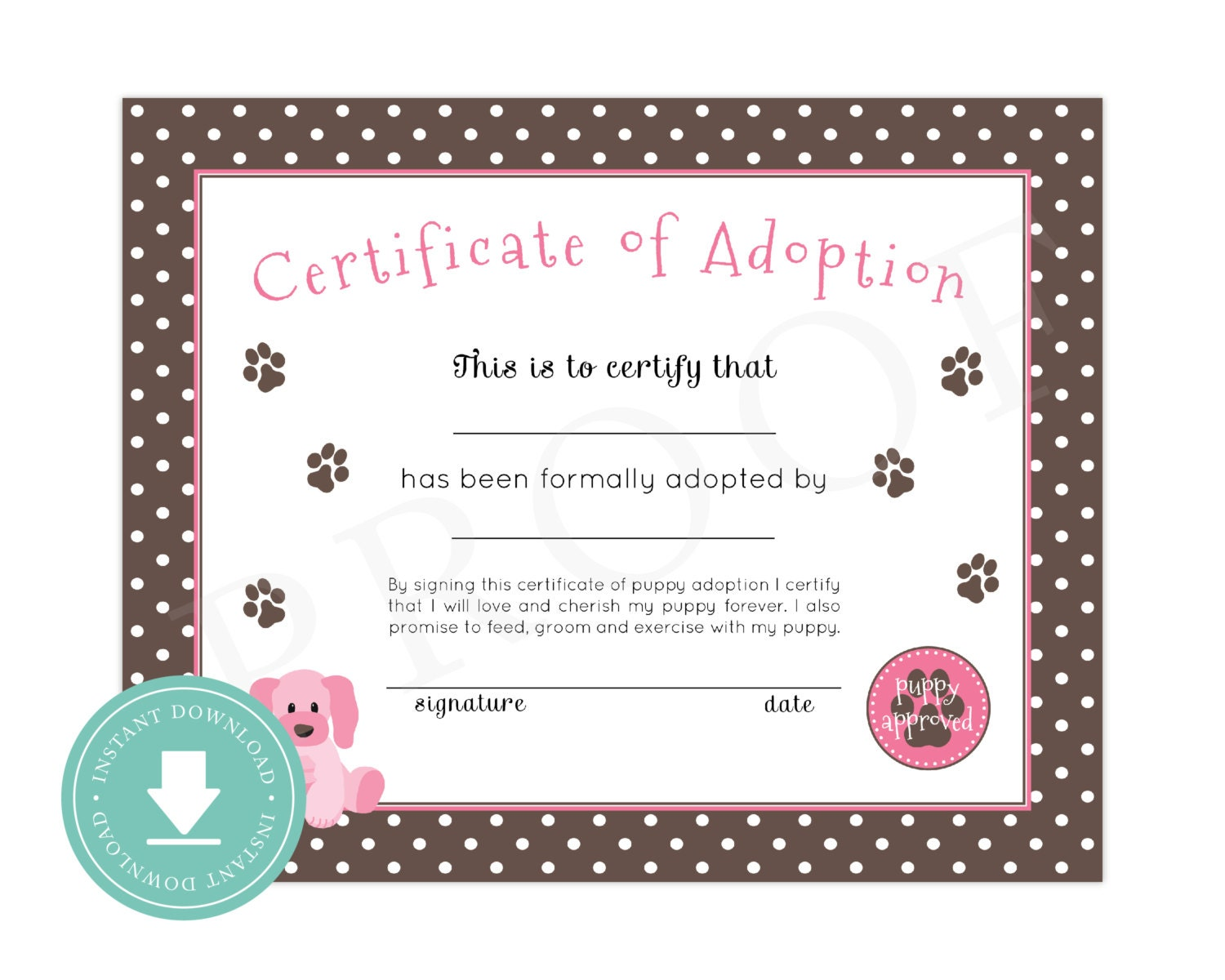 Challenger image with printable adoption certificate