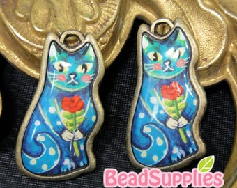 CH-LO-05002C (New and Exclusive) Retro Cat charm, Blue Cat with Rose,on antique brass setting, 2 pc