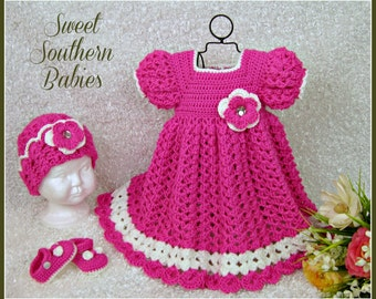 Baby Girl and Toddler Dress - Hat - Mary Jane Shoes -  Newborn to 2 Years - Your choice of 7 bright colors.