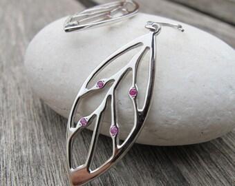 Leaf Earring Sterling Silver Leaf Earring Ruby Leaf Earring Nature Inspired Statement Boho Earring Long Dangle Drop July Birhtstone Earring