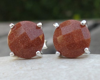Round Faceted Sunstone Earring- Brown Prong Stud Earring- Sterling Silver Earring