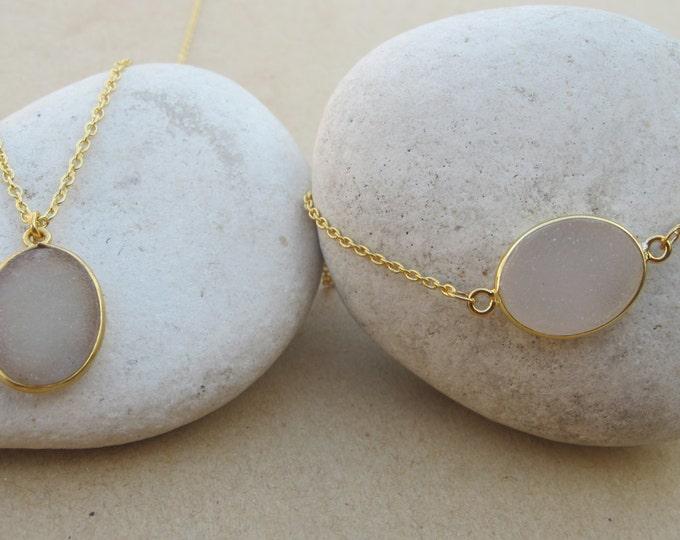 Oval Beige Druzy Jewelry Set- Druzy Necklace Bracelet Set- Simple Druzy Jewelry Set