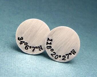 Latitude & Longitude Custom Hand Stamped Aluminum Cufflinks