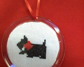 Cross Stitched Scottie Dog Christmas Tree Ornament