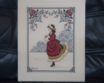 Vintage Cross Stitch - Wall Hanging - Cross Stitch Skating Girl - Finished Cross Stitch