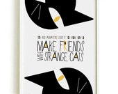 CAT quote poster 4 Black Cat Prints And Posters - art print by nicemiceforyou