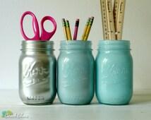Dorm Decor - Aqua and Silver Ombre - Painted mason jar - pencil holder