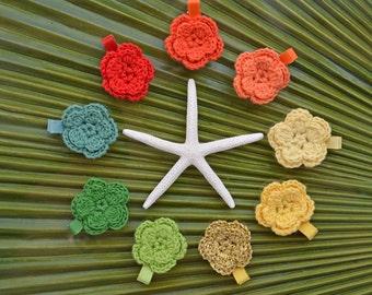 Forget-Me-Not Crochet Flower Alligator Clip // 2-Layer Crochet Flower Alligator Clip