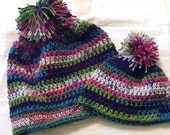 Striped adult slouch hat with pom pom (only the adult size)