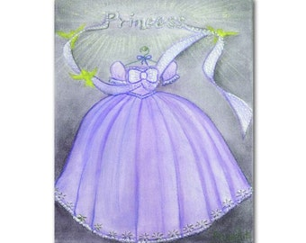 Princess Purple Dress Girls Wall Art, Girl Nursery Decor, Girls room Decor, Kids Wall Art, Nursery Decor, Nursery Wall Art, Princess Dress