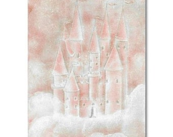 Princess Castle Wall Art, Peach Castle Art Print, Girl Nursery Decor, Kids Wall Art, Kids Decor, Nursery Wall Art, Nursery Decor
