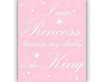 Daddy's Princess, Nursery Quotes, Any Color, Kids decor, Nursery Prints, Kids Wall Art, Nursery Wall Art, Kids Decor, Princess Decor