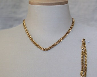 Vintage Coro Nickel Curb Chain Necklace / Choker and Bracelet Set Demi Parure Gold Tone
