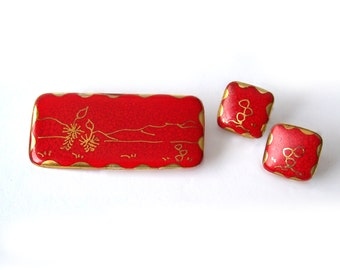 Vintage Red Ceramic Brooch Earrings Metallic Gold decoration Demi Parure