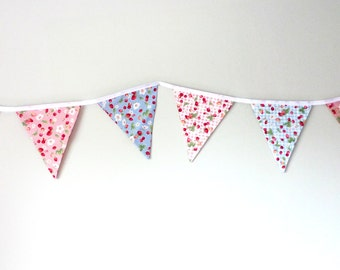 Strawberry bunting, Summer banner, party bunting, pink blue bunting, fabric bunting, CIJ, Christmas in July