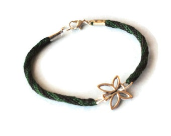 Butterfly bracelet - kumihimo braid - green and black - large