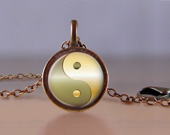 Jewelry - Lucky Penny Necklace Art - Sepia Yin Yang 2 - Chinese - Choose Chain Length - 1 Cent Jewelry - Charm - Pendant - Penny Jewelry