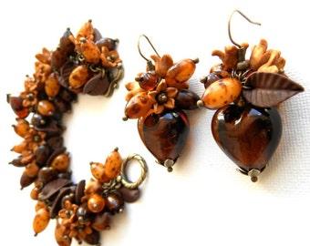 Flower Jewelry, Brown Jewelry, Heart Jewelry, Chocolate Brown, Flower Bracelet, Flower Earrings, Handmade Jewelry, Women Gift,Charm Bracelet