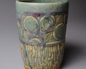Clay Tumbler Vase Carved Green
