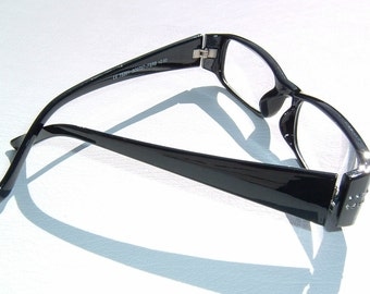 Coal Black color Decorative Eyewear Reading Glasses with Rhinestone End Pieces Diopter 2.50 strength