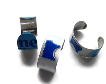 Minnesota Bracelet - MN License Plate Cuff - License Plate Art,Custom Name Jewelry,Blue Minnesota Gift,Personalized Bracelet,Metal Bracelet