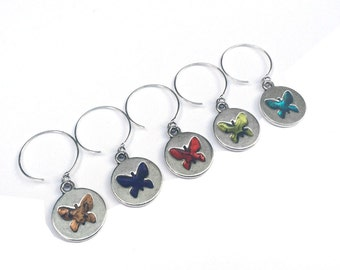 Silver Butterfly Wine Glass Charms, Unique Hostess Gift, Nature Inspired Present For Her, Butterfly Gift,