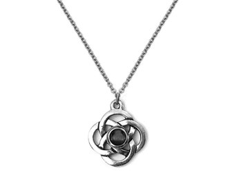 Celtic Knot Necklace, Silver and Black, Celtic Love Knot Pendant, Graduation Gift, Stainless Steel Necklace Chain