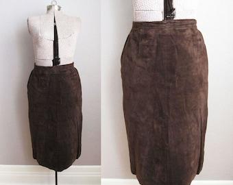 Brown Leather Skirt 1980s Vintage Suede Pencil Skirt / Medium
