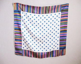 1960s Scarf Purple Blue Stripes Polka Dots Vintage Scarf