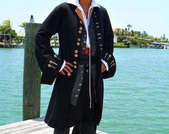 Men's Pirate Coat. Black Linen blend, fully lined.