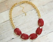 Oxblood Red Single Strand Statement Necklace on Chunky Gold Chain, Red Statement Necklace