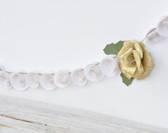 Christmas Garland- Paper Flower Garland- White and Gold Garland- 5 feet