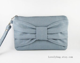 SUPER SALE - Gray Bow Clutch - Bridal Clutches, Bridesmaid Wristlet, Wedding Gift - Made To Order
