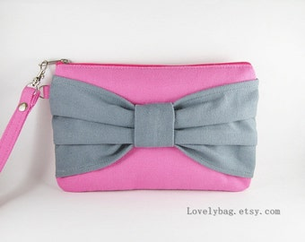 SUPER SALE - Pink with Gray Bow Clutch - iPhone 5 Wallet, iPhone Wristlet, Cell Phone Wristlet, Cosmetic Bag, Zipper Pouch - Made To Order
