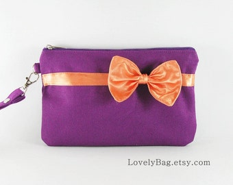 SUPER SALE - Eggplant Purple with Little Orange Bow Clutch - iPhone Wallet, iPhone Wristlet, iPhone Wristlet,Zipper Pouch - Made To Order