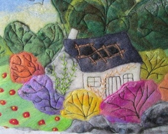 textile wall art, wet felted art, felt picture, tumble down cottage, 12 x 12 inches