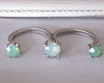 Double Open Ring with Swarovski Mint Green Opal Crystals
