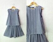 Blue Vintage Dress / Plaid / Women dress / 1970s / Pretty dress / Day Dress / Prom
