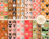 Dog digital paper dog digital backgrounds part 2 - INSTANT DOWNLOAD
