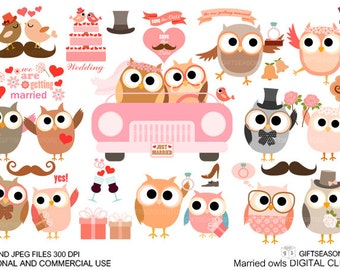 Married owl Digital clip art for Personal and Commercial use - INSTANT DOWNLOAD