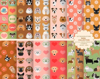 Dog digital paper dog digital backgrounds part 2 - INSTANT DOWNLOAD