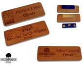 10 Custom Wood Name Badges/Tags