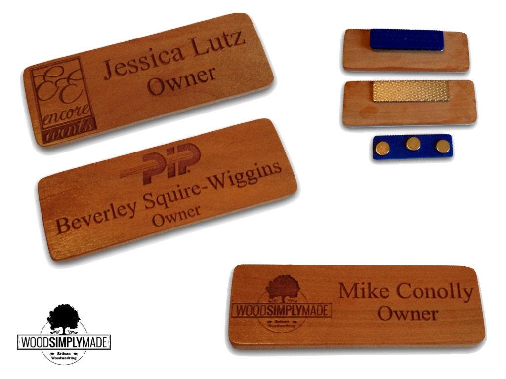 10 Custom Wood Name BadgesTags
