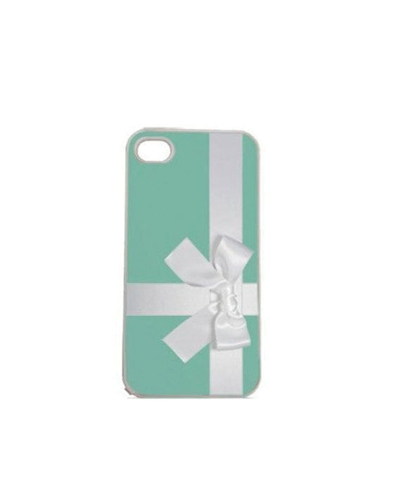Teal Blue Box with Bow iPhone 4 4s, iPhone 5 5s 5C, iPhone 6 6 Plus, IPOD 5G, Hardshell, Silicone, 2-in-1 Protective Case hs0001