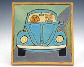 Cat takes Dog on a Sunday drive in a blue VW Bug on a Handmade Ceramic Tile