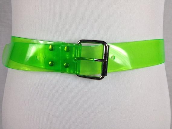 Vintage Green Neon Mall Rat Clear Plastic Belt