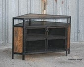 Industrial Corner Unit - Reclaimed wood TV Stand. Urban, Modern. Media Console, Media Center. Custom configuations. Loft Decor.