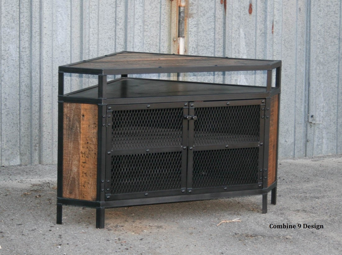 Industrial Corner Unit Reclaimed Wood Tv Stand Urban
